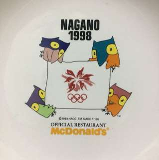 japan import vintage NAGANO 1998 olympic Mcdonald official ceramic plate