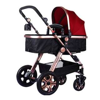 Luxurious Bassinet Extreme Stroller (Red)