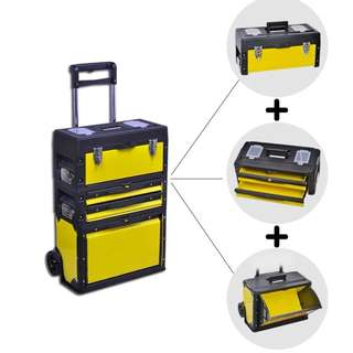 Available Now! Brand New 3 in 1 Trolley Wheel Toolbox Cabinet Set Tools Organiser and Storage DIY Helper Mobile Workshop Center