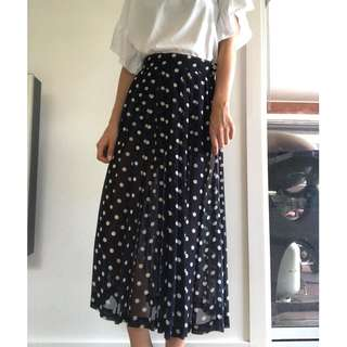 Vintage Country Road Polka Dot Pleated Skirt
