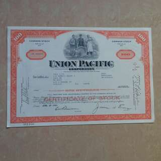 [lapyip1230] 美國股票正本 1969年 聯合太平洋集團 100股精美雕刻版股票