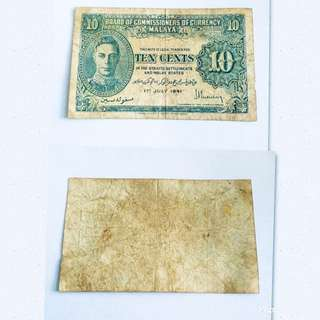 Old 10c Malaya Note
