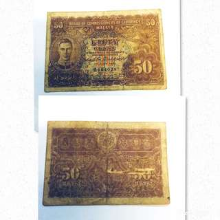 Old 50c Malaya Note