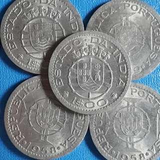 10 COINS LOT -  PORTUGUESE INDIA - 3 Escudos 1958-1959 Copper-nickel – 8 g