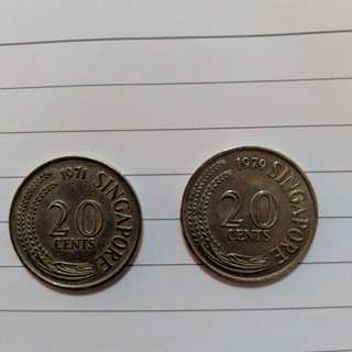 1971 and 79 Old 20c coins
