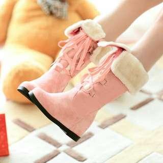 韓流時商內增高平跟棉靴(3色)35~43碼