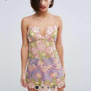 ASOS PETITE SALON 3D Applique Super Mini Floral Dress /  UK8