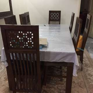 Eight seater dinner table rubber wood