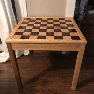 Chess and checker board wood table