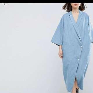 ASOS WHITE Buttoned Kimono Denim Dress In Light Blue Wash / UK6