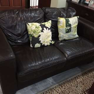 Leather sofa for three and two seater