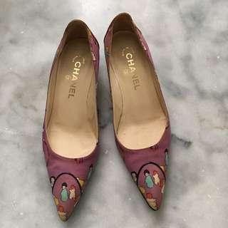 Chanel 收藏級絲質面料低跟鞋