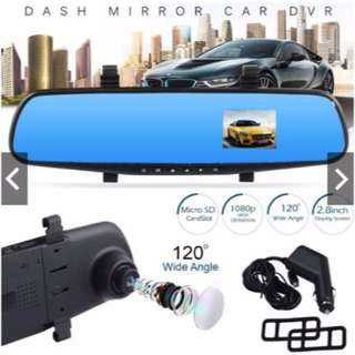 HD 1080P In Car Rear View Mirror Dash DVR Recorder Dual Lens Camera Monitor