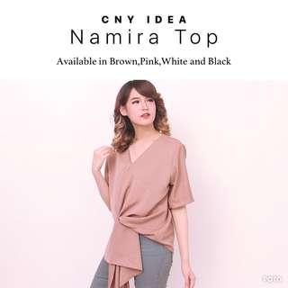 (NEW) Baju Kerja/Baju Kuliah/Baju Casual - Namira Top (Black/White/Brown/Pink)