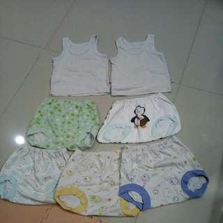 Celana Pop Bayi 5pcs + Singlet 2pcs Size 1 Tahun