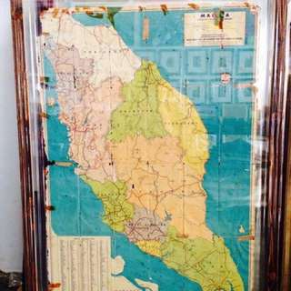Vintage Large Framed Malaya Map