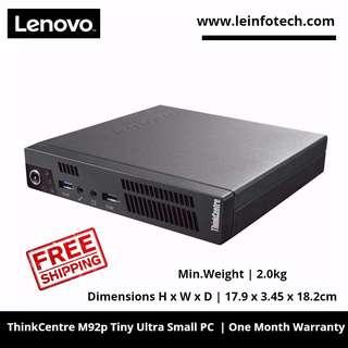 Lenovo ThinkCentre M92p Tiny desktop Core i7-3470s 4GB 320GB Win 10 Pro Dimensions H x W x D   17.9 x 3.45 x 18.2cm