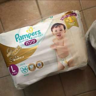 Pampers premium care pants L 34 made in Japan