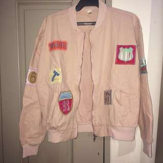 Pink Patched Bomber Jacket