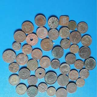 46 COINS LOT -  GWALIOR , BARODA , JODHPUR MEWAR KUTCH mixed Copper Coin india TOP CONDITION