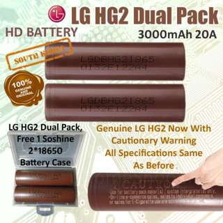18650 Battery - Genuine LG HG2 Dual Pack, 3000mAh 20A Flat Top High Drain