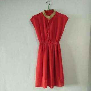 Dress chiffon merah