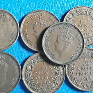 10 COINS LOT - British India - 1/12 Anna - George VI 1939 1941 Bronze – 1.62 g