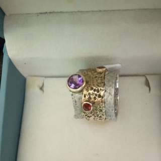 Sale!Silver ring with Amethyst and Ruby gemstones