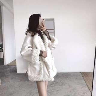 冬季新款韓版chic拼接毛毛邊寬松兩側大口袋中長款加厚呢子外套女