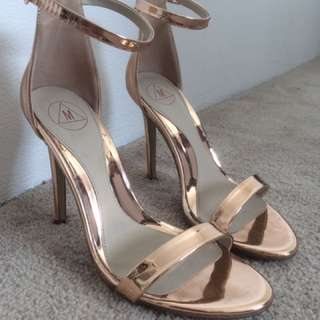Missguided Rose gold strappy heels size 37 / 6