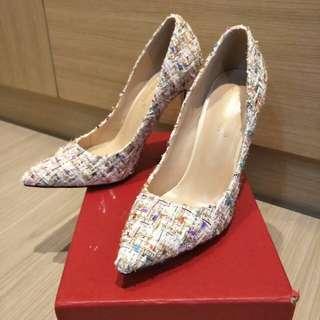 🚚 白色系彩色金蔥高跟鞋23.5