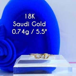 18K SAUDI GOLD RING WITH RUSSIAN DIA