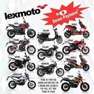 $0 downpayment for a brand new Lexmoto EURO 4 125cc motorcycle.