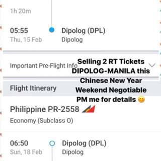 2 Roundtrip Tickets Dipolog-Manila