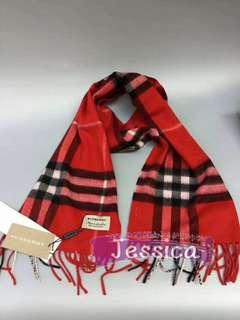 【Jessica】【鮮紅色】Burberry 代購 2017 新款 純羊絨 圍巾 經典格紋 流蘇裝飾 百搭保暖 時尚