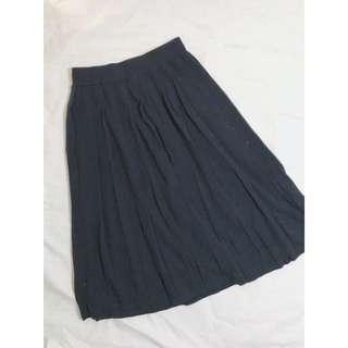 🛍Uniqlo 針織百摺半衣裙 深藍色