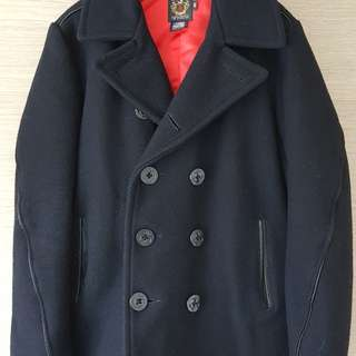 Schott slim fit leather trimmed peacoat