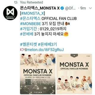 ATTTENTION!! Monsta X 3rd generation Fan Club