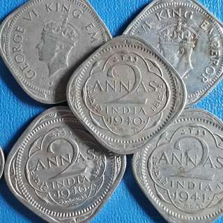 10 COINS LOT - British India - 2 Annas - George VI - Mixed Years -1939 1940 1941 1946 1947 1942 1943 1944 1945