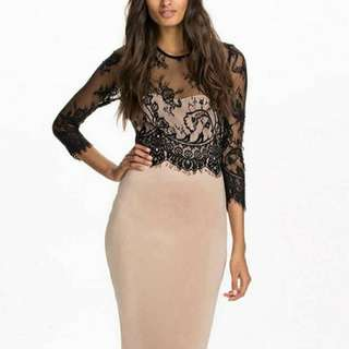Eyelash Lace Midi Dress
