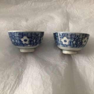 日本中古壽字青花瓷茶杯 一對