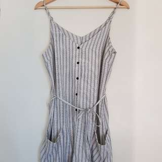 Striped button up playsuit