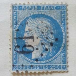 [lapyip1230] 法國古董郵票 1850年 廿五仙 VFU