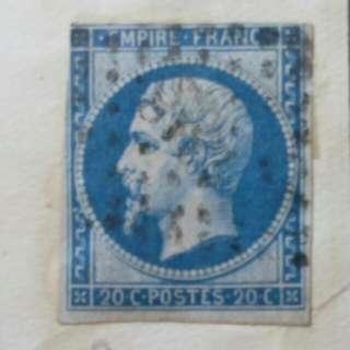 [lapyip1230] 法蘭西帝國 1860年 拿破崙三世 20仙 VFU