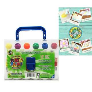 BNIB: Crafty Dab Kids Washable Paint - 6 Pack Carry Case - Dot Marker for Do a Dot Art