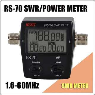 NISSEl RS-70 Digital SWR & Power Meter 1.6-60 Mhz HF 200W For 2 Way Radios