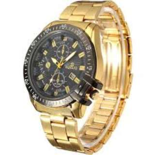 RQMAND Luxury Mens Black White Dial Gold Stainless Steel Date Quartz Analog Sport