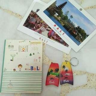 Bali Souvenirs (Notebook, 2 surfboard keychains & 2 Bali postcards)
