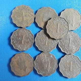 10 COINS LOT - British India - 1 Anna - George VI 1938 - 1945