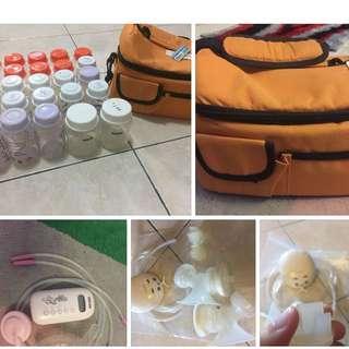 breastpump , cooler bag, bottles